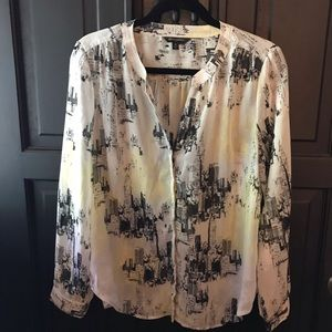 Banana Republic sheer blouse featuring NYC skyline